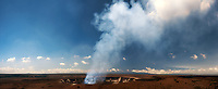 August 2016: Panoramic day view of the Halema'uma'u Crater from the Jaggar Museum, Hawai'i Volcanoes National Park, Hawai'i Island.