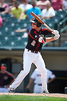 Rochester Red Wings second baseman James Beresford (2) at bat during a game against the Norfolk Tides on May 3, 2015 at Frontier Field in Rochester, New York.  Rochester defeated Norfolk 7-3.  (Mike Janes/Four Seam Images)