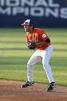 Josh Vargas (40) of the Cal State Fullerton Titans in the field during a game against the Cal Poly Mustangs at Goodwin Field on April 2, 2015 in Fullerton, California. Cal Poly defeated Cal State Fullerton, 5-0. (Larry Goren/Four Seam Images)