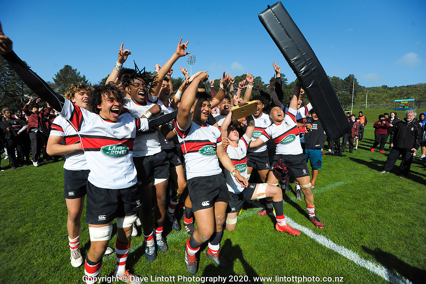 The Scots College team celebrates winning the Wellington 1st XV secondary schools premier one rugby final between St Patrick's College Silverstream and Scots College at Porirua Park in Porirua, New Zealand on Sunday, 27 September 2020. Photo: Dave Lintott / lintottphoto.co.nz
