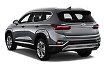 Car pictures of rear three quarter view of a 2019 Hyundai Santa FE Shine 5 Door SUV angular rear