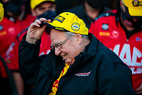 Oct 4, 2020; Madison, Illinois, USA; NHRA top fuel team owner Connie Kalitta celebrates after winning the Midwest Nationals at World Wide Technology Raceway. Mandatory Credit: Mark J. Rebilas-USA TODAY Sports