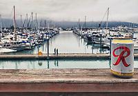 Seward sport fishing dock, Pacific Horticulture tour of Alaska, Rainier beer on railing