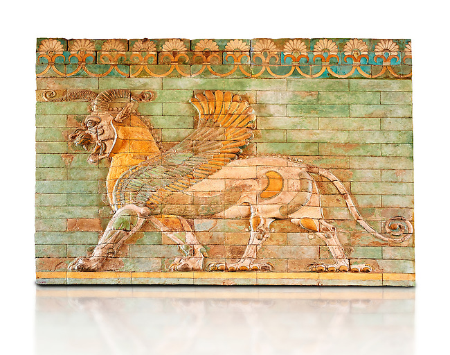 Coloured glazed terracotta tiled panels depicting mythical Griffins. From the reign of Darius 1st and the First Persian or Achaemenid Empire around 510 BC excavated from the Palace of Daius 1st Susa, present day Iran.. Inv AS 332607, The Louvre Museum, Paris.