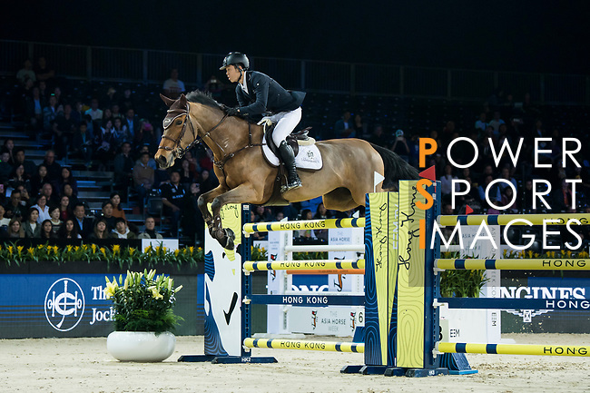 Ping-Yang Hsieh of Chinese Taipei riding Just Energie competes in  the Longines Speed Challenge during the Longines Masters of Hong Kong at AsiaWorld-Expo on 10 February 2018, in Hong Kong, Hong Kong. Photo by Diego Gonzalez / Power Sport Images