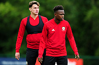 Regan Poole (L) and Rabbi Matondo (R) of Wales during the Wales Training Session at The Vale Resort in Cardiff, Wales, UK. Monday 07 October 2019