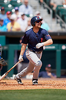 Pawtucket Red Sox first baseman Adam Lind (30) follows through on a swing during a game against the Buffalo Bisons on June 28, 2018 at Coca-Cola Field in Buffalo, New York.  Buffalo defeated Pawtucket 8-1.  (Mike Janes/Four Seam Images)