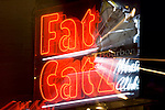 Louisiana, New Orleans, Bourbon Street, Fat Catz Neon Sign (Zoom Blur)