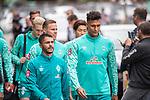 10.09.2020, Trainingsgelaende am wohninvest WESERSTADION - Platz 12, Bremen, GER, 1.FBL, Werder Bremen Training<br /> <br /> Gut gelaunt nach der Mental Stunde zum Training <br /> Leonardo Bittencourt  (Werder Bremen #10)<br /> Davie Selke  (SV Werder Bremen #09)<br /> Niklas Moisander (Werder Bremen #18 Kapitaen)<br /> Yuya Osako (Werder Bremen #08)<br /> <br /> <br /> <br /> <br /> <br /> Foto © nordphoto / Kokenge