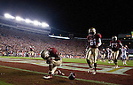 FSU running back Chris Thompson bows in the end zone after a score when the 4th ranked Florida State Seminoles defeated the 9th ranked Clemson Tigers 49-37 in their NCAA football game at Doak Campbell Stadium in Tallahassee, Florida September 22, 2012.