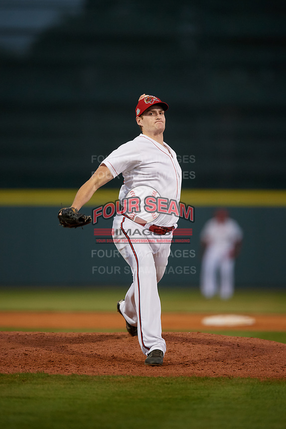 Florida Fire Frogs relief pitcher Jon Kennedy (43) during a Florida State League game against the Jupiter Hammerheads on April 8, 2019 at Osceola County Stadium in Kissimmee, Florida.  Florida defeated Jupiter 7-6 in ten innings.  (Mike Janes/Four Seam Images)