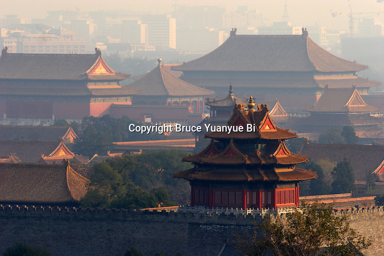 The one of the turret of Forbidden city with the palace halls in the background. Beijing. China