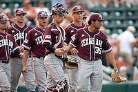 Texas A&M Aggies pitcher Estevan Uriegas #35 celebrates with his team after the NCAA baseball game against the Texas Longhorns on April 28, 2012 at UFCU Disch-Falk Field in Austin, Texas. The Aggies beat the Longhorns 12-4. (Andrew Woolley / Four Seam Images).