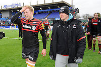 20130324 Copyright onEdition 2013©.Free for editorial use image, please credit: onEdition..Jackson Wray (left) and David Strettle of Saracens  celebrate winning thePremiership Rugby match between Saracens and Harlequins at Allianz Park on Sunday 24th March 2013 (Photo by Rob Munro)..For press contacts contact: Sam Feasey at brandRapport on M: +44 (0)7717 757114 E: SFeasey@brand-rapport.com..If you require a higher resolution image or you have any other onEdition photographic enquiries, please contact onEdition on 0845 900 2 900 or email info@onEdition.com.This image is copyright onEdition 2013©..This image has been supplied by onEdition and must be credited onEdition. The author is asserting his full Moral rights in relation to the publication of this image. Rights for onward transmission of any image or file is not granted or implied. Changing or deleting Copyright information is illegal as specified in the Copyright, Design and Patents Act 1988. If you are in any way unsure of your right to publish this image please contact onEdition on 0845 900 2 900 or email info@onEdition.com