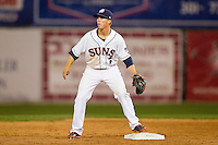Tony Renda (7) of the Hagerstown Suns waits for a throw at second base during the South Atlantic League game against the Delmarva Shorebirds at Municipal Stadium on April 11, 2013 in Hagerstown, Maryland.  The Shorebirds defeated the Suns 7-4 in 10 innings.  (Brian Westerholt/Four Seam Images)