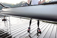Former Marine sergeant Rob Jones stands on bionic legs by the double scull boat used to train for the rowing Wednesday July, 25, 2012 on the Rivanna River in Charlottesville, VA. Former Marine sergeant Jones, who lost both legs during an IED explosion in Afghanistan, will compete as a rower at the 2012 Paralympics in London, England. Rowing will make its appearance at the London Paralympic Games for only the second time, after its introduction at the Beijing 2008 Games.