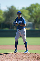 Los Angeles Dodgers relief pitcher Carlos Duran (35) gets ready to deliver a pitch during an Instructional League game against the San Diego Padres at Camelback Ranch on September 25, 2018 in Glendale, Arizona. (Zachary Lucy/Four Seam Images)