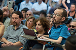 Pablo Iglesias, secretary general of Podemos; Pablo Echenique, Secretary of Government Action, Institutional Action and Program; Gloria Elizo, secretary in Podemos of Politices against corruption; in a meeting of Podemos with people in Madrid where they exchange points of view, listen to concerns and draw shared horizons.<br /> October 5, 2019. <br /> (ALTERPHOTOS/David Jar)