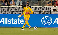 KANSAS CITY, KS - JULY 15: Matt Turner #1 of the United States moves with the ball during a game between Martinique and USMNT at Children's Mercy Park on July 15, 2021 in Kansas City, Kansas.
