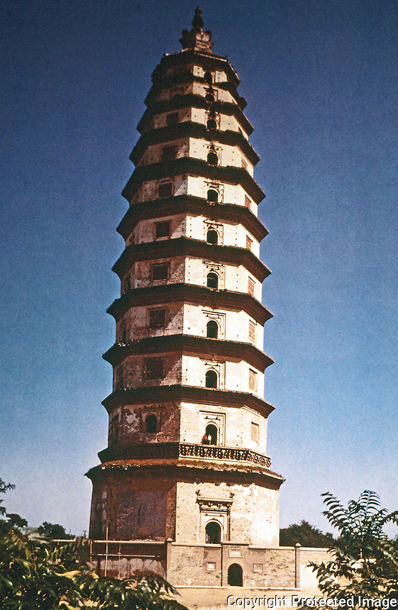 China:  Chinese Architecture--Pagoda of Kaiyvan Temple, 1001-1055 A.D.  84 meters, highest ancient pagoda in brick.  Northern Song.