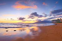 Sunset at Keawakapu beach south Maui near the Mana Kai resort.
