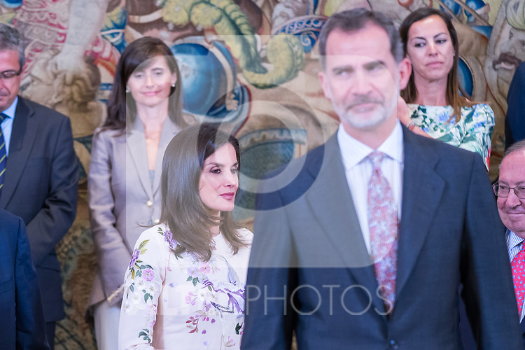 King Felipe and Queen Letizia of Spain during the audience with executive commission of the alliance for professional learning dual. July 8 ,2019. (ALTERPHOTOS/Francis Gonzalez)