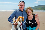 Taking Holly their dog for a walk on Inch Beach on Saturday, l to r: Robert and Michelle Magner.