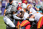 Iowa State Cyclones running back Mike Warren (2) in action during the game between Iowa State Cyclones and the TCU Horned Frogs at the Amon G. Carter Stadium in Fort Worth, Texas.