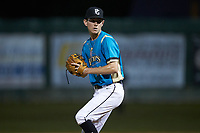 Mooresville Spinners starting pitcher Justin Jarvis (39) in action during an exhibition game against the Race City Bootleggers at Moor Park on July 23, 2020 in Mooresville, NC. Jarvis was a 2018 5th round draft pick of the Milwaukee Brewers out of Lake Norman (NC) High School.  With the 2020 Minor League Baseball season canceled, Jarvis was given permission to pitch for the Spinners, who play in the Southern Collegiate Baseball League.  (Brian Westerholt/Four Seam Images)