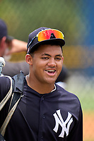 New York Yankees Jasson Dominguez (25) after an Extended Spring Training game against the Detroit Tigers on June 19, 2021 at the Joker Marchant Stadium in Lakeland, Florida.  (Mike Janes/Four Seam Images)