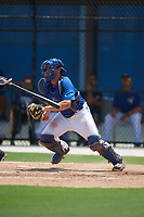 GCL Blue Jays catcher Hagen Danner (33) tags the batter to complete the strikeout during a game against the GCL Pirates on July 20, 2017 at Bobby Mattick Training Center at Englebert Complex in Dunedin, Florida.  GCL Pirates defeated the GCL Blue Jays 11-6 in eleven innings.  (Mike Janes/Four Seam Images)