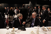 Fomer presidents Jean campeau (R) talk with <br /> Michael Sabia (M) after he adress the Canadian club of Montreal on the occasion of la Caisse de depot et placement du Quebec's 50th anniversary,May 27, 2015<br /> <br /> Photo :Agence Quebec Presse - Pierre Roussel