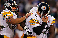 ORCHARD PARK, NY - NOVEMBER 28: Shaun Suisham #6 of the Pittsburgh Steelers celebrates with teammates after kicking the game winning field goal in overtime against the Buffalo Bills during the game on November 28, 2010 at Ralph Wilson Stadium in Orchard Park, New York.  (Photo by Jared Wickerham/Getty Images)