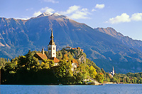 Lake Bled with, from left to right, Church of the Assumption, Bled Castle and Church of St. Martin, city of Bled in Slovenia, AGPix_0553.