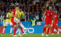 MOSCU - RUSIA, 03-07-2018: Radamel FALCAO GARCIA (Der) jugador de Colombia disputa el balón con John STONES (Izq) jugador de Inglaterra durante partido de octavos de final por la Copa Mundial de la FIFA Rusia 2018 jugado en el estadio del Spartak en Moscú, Rusia. / Radamel FALCAO GARCIA (R) player of Colombia fights the ball with John STONES (L) player of England during match of the round of 16 for the FIFA World Cup Russia 2018 played at Spartak stadium in Moscow, Russia. Photo: VizzorImage / Julian Medina / Cont