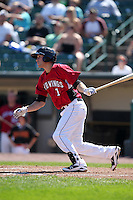 Rochester Red Wings Trevor Plouffe during a game vs. the Pawtucket Red Sox at Frontier Field in Rochester, New York;  August 29, 2010.   Rochester defeated Pawtucket 6-3.  Photo By Mike Janes/Four Seam Images