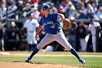 Toronto Blue Jays pitcher Sam Gaviglio (43) during a Spring Training game against the New York Yankees on February 22, 2020 at the George M. Steinbrenner Field in Tampa, Florida.  (Mike Janes/Four Seam Images)