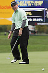 Troy Matteson reacts after missing his putt on the 9th hole during the Turning Stone Resort Championship at Atunyote Golf Course in Verona, NY.