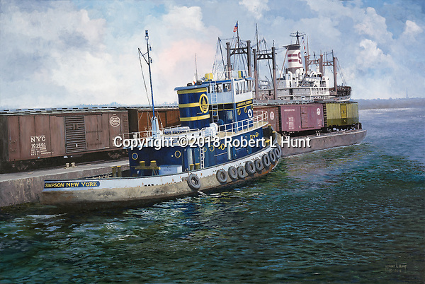 Tugboat Howard E Simpson of the Baltimore and Ohio Railroad at work pushing a car float of loaded boxcars across the water into New York City.