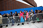 BROOKLYN, NEW YORK-NOVEMBER 02:  Commuters wait for buses into Manhattan at the Barclays Center in the Aftermath of Hurricane Sandy November 2, 2012. With not subways lines operating in lower Manhattan there were long lines for the free buses at rush hour.