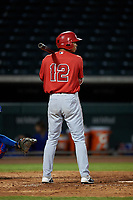 AZL Angels Jose Reyes (12) at bat during an Arizona League game against the AZL Cubs 1 on June 24, 2019 at Sloan Park in Mesa, Arizona. AZL Cubs 1 defeated the AZL Angels 12-0. (Zachary Lucy / Four Seam Images)