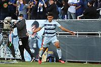 SAN JOSE, CA - MAY 22: Jaylin Lindsey #2 of Sporting Kansas City celebrates scoring during a game between Sporting Kansas City and San Jose Earthquakes at PayPal Park on May 22, 2021 in San Jose, California.