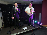 Pictured: Singers on stage<br /> Re: Swansea City FC Christmas party at the Liberty Stadium, south Wales, UK.