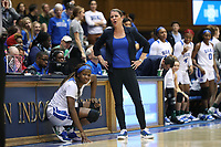 DURHAM, NC - JANUARY 26: Head coach Joanne P. McCallie of Duke University complains about a call during a game between Georgia Tech and Duke at Cameron Indoor Stadium on January 26, 2020 in Durham, North Carolina.