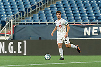 FOXBOROUGH, MA - JULY 9: Kevin Politz #64 of Toronto FC II looks to pass during a game between Toronto FC II and New England Revolution II at Gillette Stadium on July 9, 2021 in Foxborough, Massachusetts.