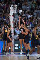 Silver Ferns goal attack Ameliaranne Ekenasio shoots for goal during the Cadbury Netball Series final between NZ Silver Ferns and NZ Men at the Fly Palmy Arena in Palmerston North, New Zealand on Saturday, 24 October 2020. Photo: Dave Lintott / lintottphoto.co.nz