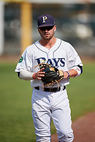 Princeton Rays second baseman Jake Palomaki (1) before the first game of a doubleheader against the Johnson City Cardinals on August 17, 2018 at Hunnicutt Field in Princeton, Virginia.  Johnson City defeated Princeton 6-4.  (Mike Janes/Four Seam Images)