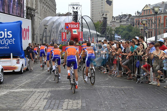 Rabobank Cycling Team arrive at the Team Presentation Ceremony before the 2012 Tour de France in front of The Palais Provincial, Place Saint-Lambert, Liege, Belgium. 28th June 2012.<br /> (Photo by Eoin Clarke/NEWSFILE)