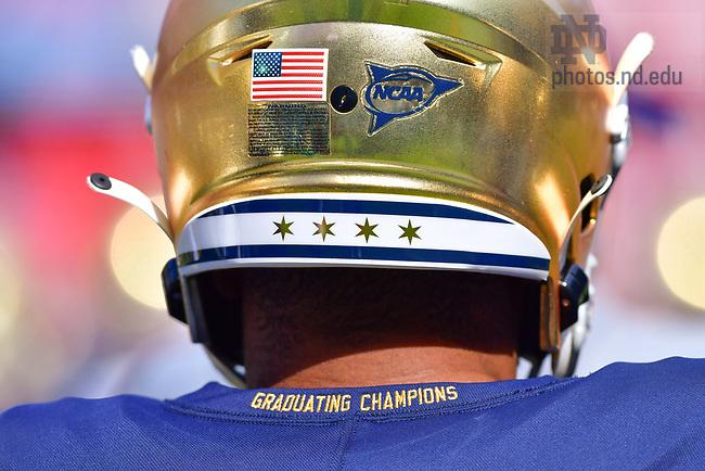 September 25, 2021; Helmet design for the Shamrock Series game at Soldier Field in Chicago. (photo by Matt Cashore)