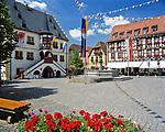 Deutschland, Bayern, Franken, Volkach: Marktplatz mit Rathaus   Germany, Bavaria, Franconia, Volkach: Marktet Square with townhall